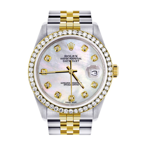 Diamond Gold Rolex Watch For Men 16233 | 36Mm | White Mother Of Pearl | Jubilee Band