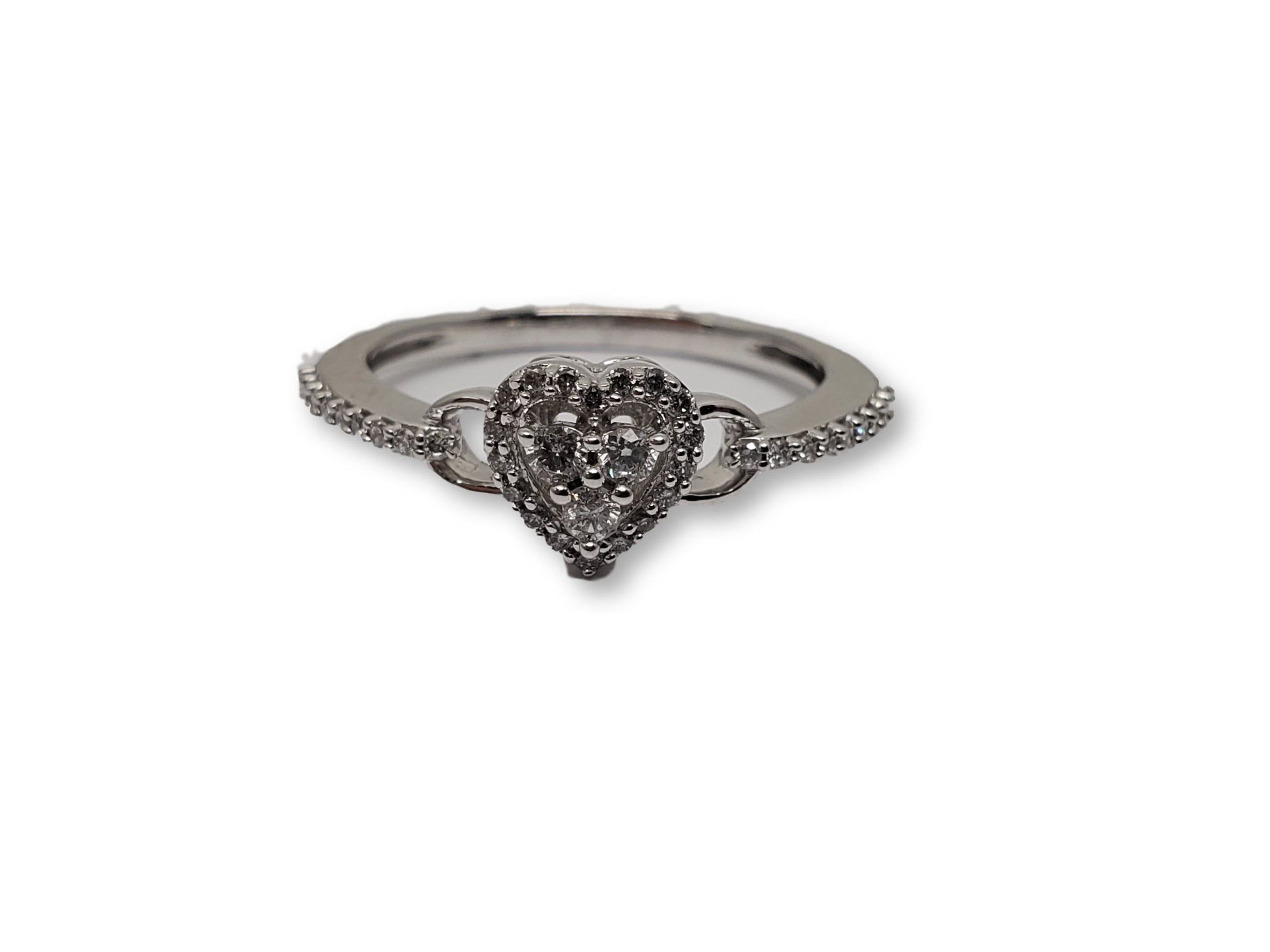 Bague coeur 0.20ct diamants en or blanc 10k