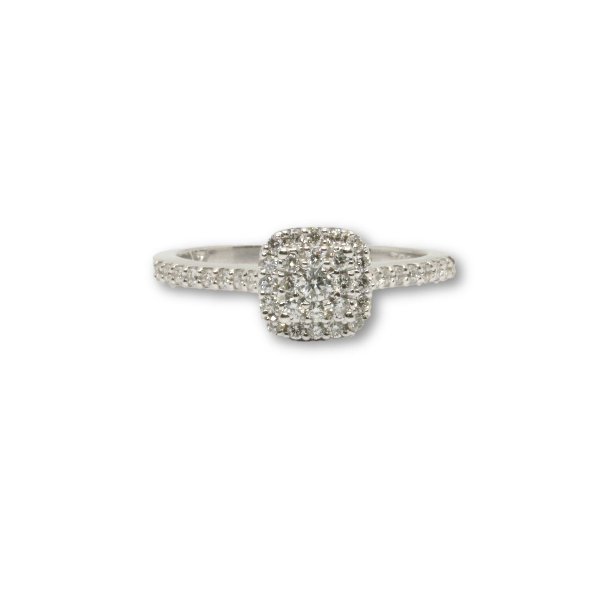 Bague Cushion Cluster 0.47ct diamants 14k - orquebec