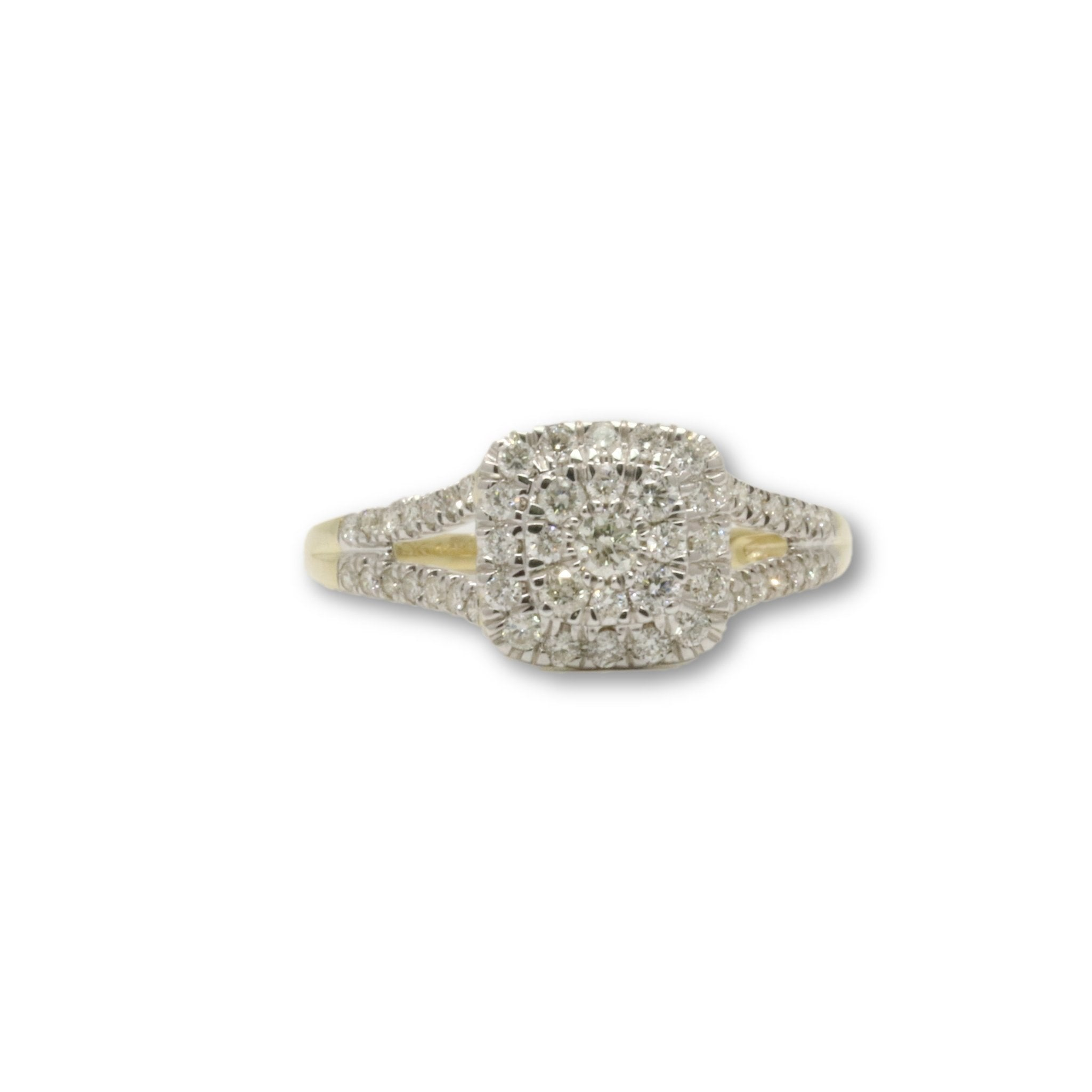 Bague Halo 0.50ct Diamants en or jaune 10k pour femme - orquebec