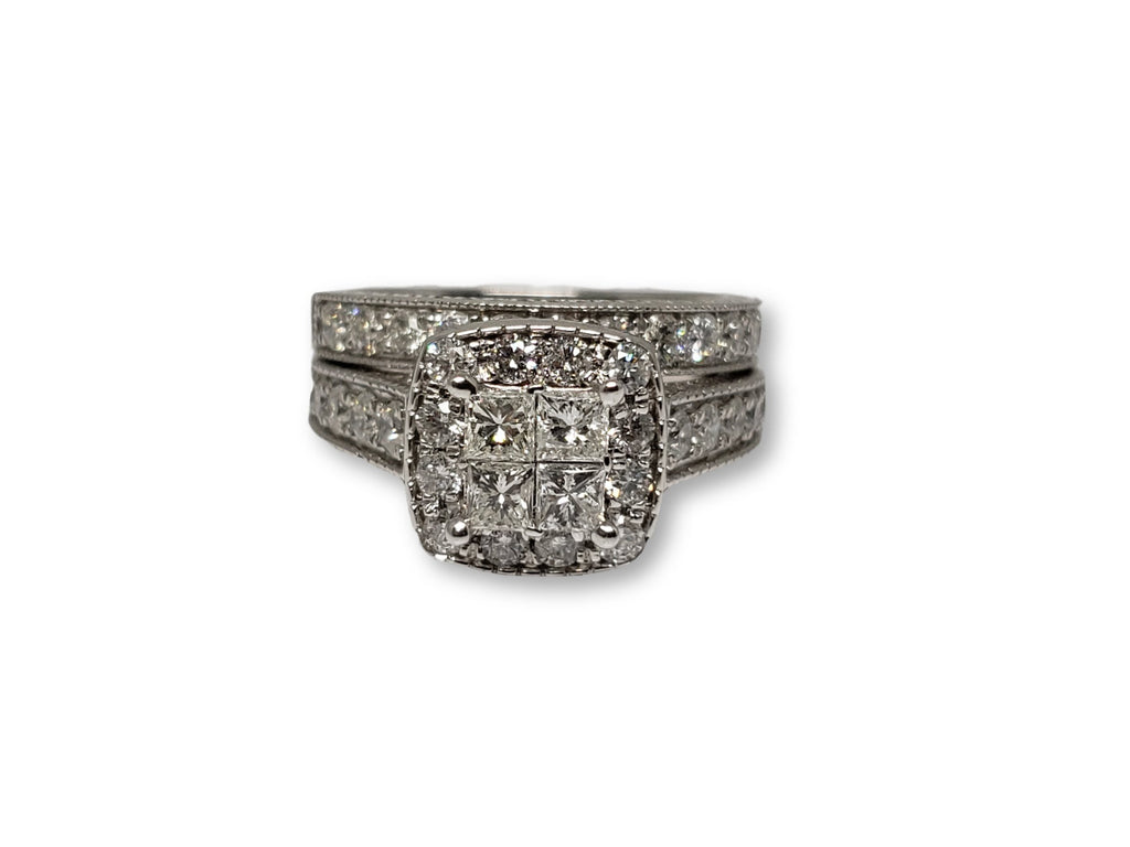 bague Lisa Princess curt  1.75ct de diamants en or blanc  14K N11 - orquebec