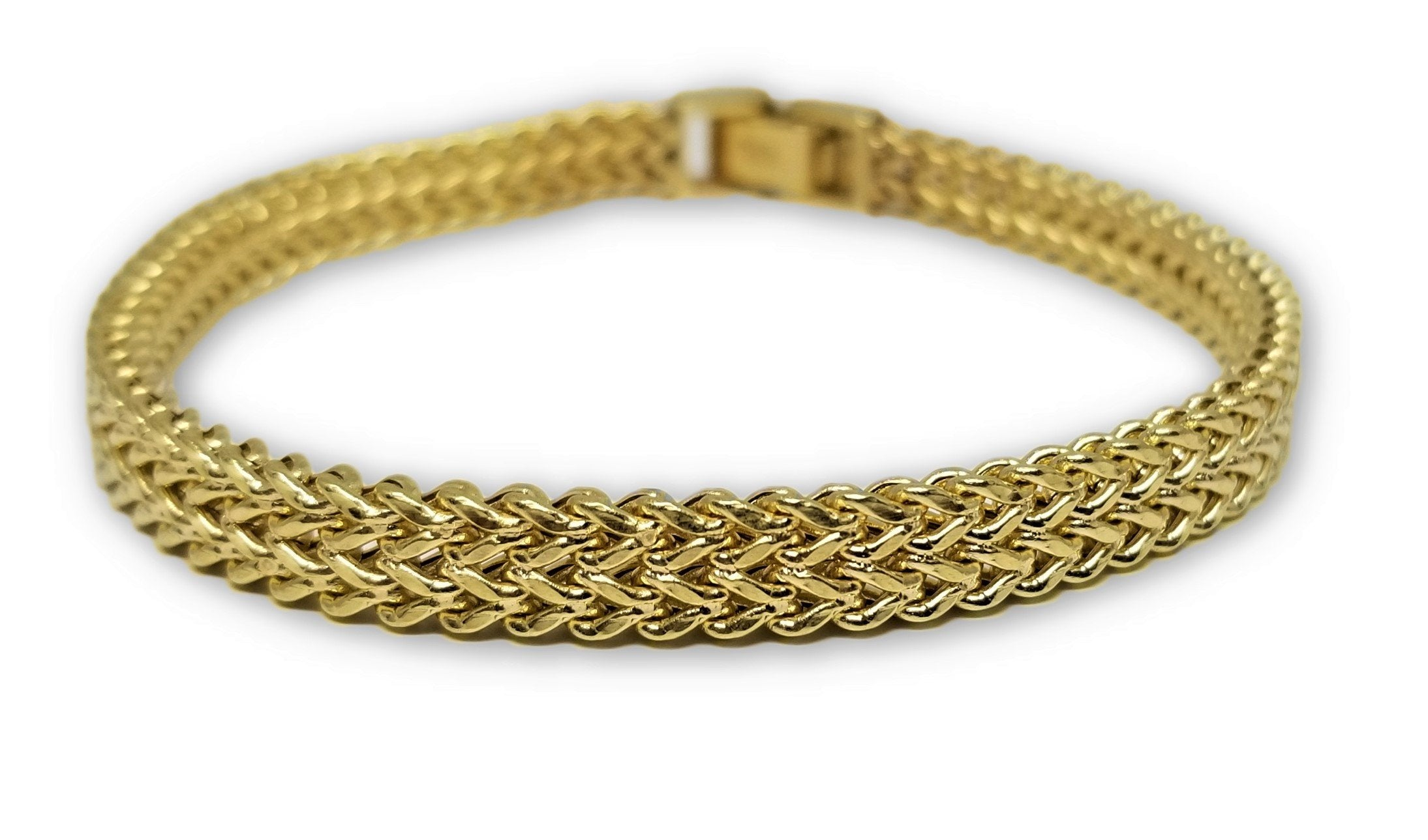 Bracelet Franco double maille style unique en or 10 k Italien 7mm - orquebec