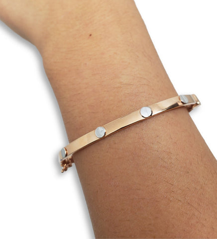 Bracelet8 en or rose 10K / Bangle8 in 10K rose gold - orquebec