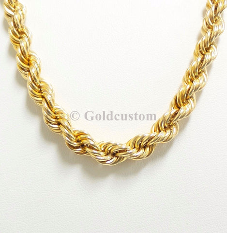 High Polish 10K Rope Chain Necklace 8MM Gold Men Yellow Solid Gold | Chaine Torsade de 8MM pour lui en or jaune 10K-Gold Custom