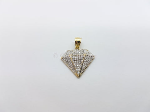 Real 10K High Polish Solid Gold Diamond Shape Men Pendant - orquebec