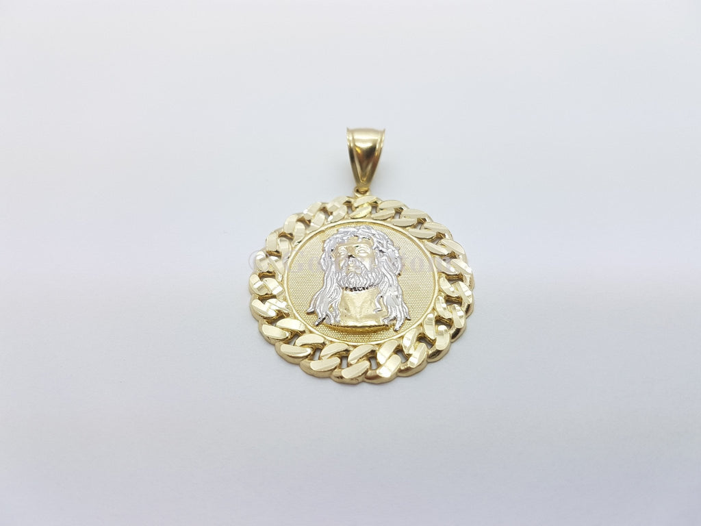 Real 10K High Polish Solid Yellow Gold Jesus Round Messiah Pendant - orquebec
