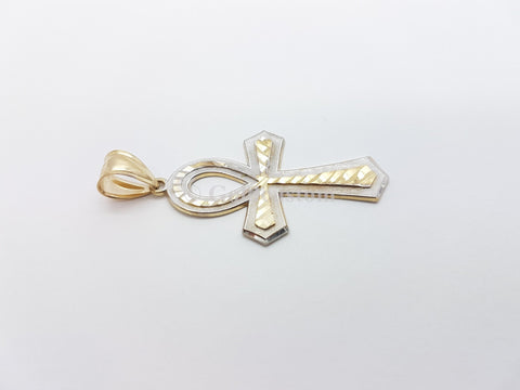 Real 10K High Polish Solid Yellow Gold Reuben Cross Pendant - orquebec