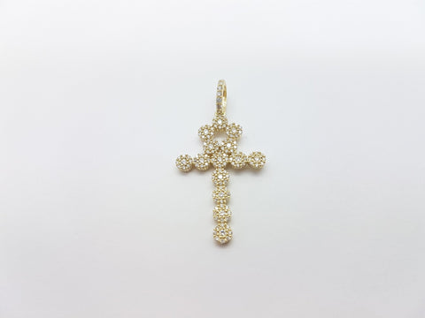 Real 10K High Polish Solid Yellow Gold Rufus Cross Pendant - orquebec
