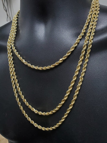 Rope Chain Diamond cut in 10 karat Gold 5MM | Chaine Torsade en or 10kt en coupe diamant 5mm-Gold Custom