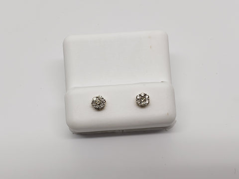 Studs-071 fleur  0.25ct de diamants en or jaune 14k - orquebec