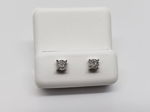 Studs-074  0.05ct de diamants en or blanc  10k - orquebec