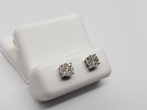 Studs-077  0.15ct de diamants en or blanc  10k - orquebec