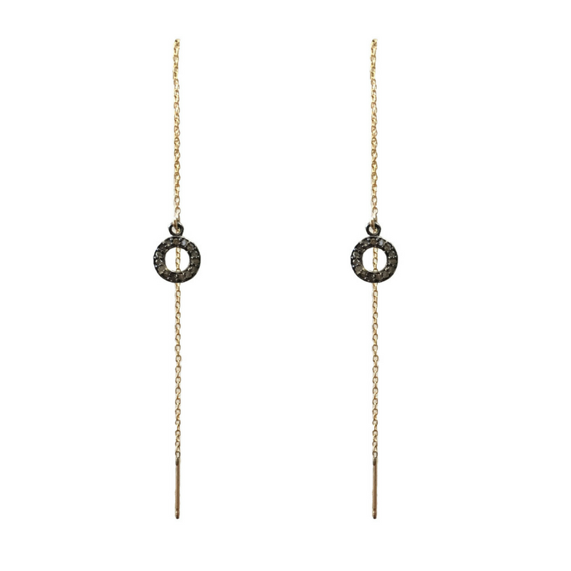 Thread Earrings in Gold Fill Chain Hollow Circle