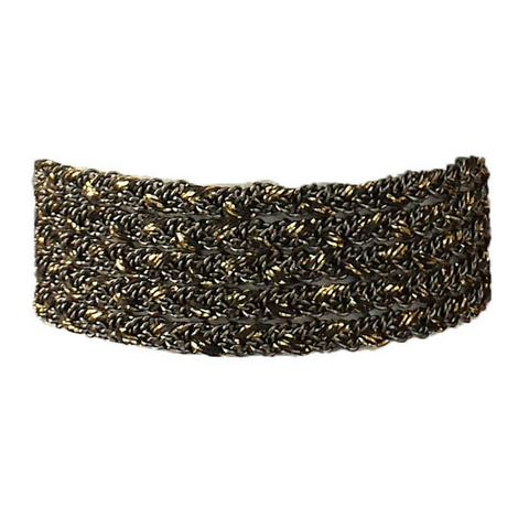 Black Onyx Glacé Collection- Semi Precious Gemstones & 3mm Shiny Gold-Filled Beaded Bracelet (2/2 pattern)