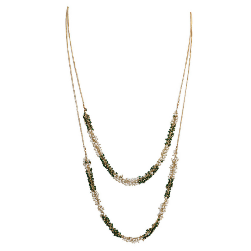 Circular White and Green Seed Bead Necklace
