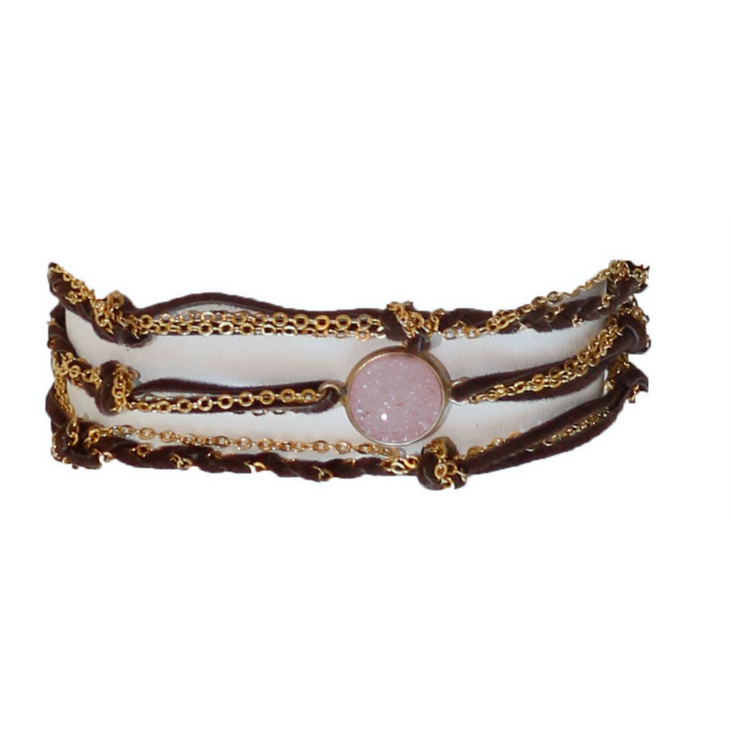 Druzy Stone & Suede  Multi Functional Wrap
