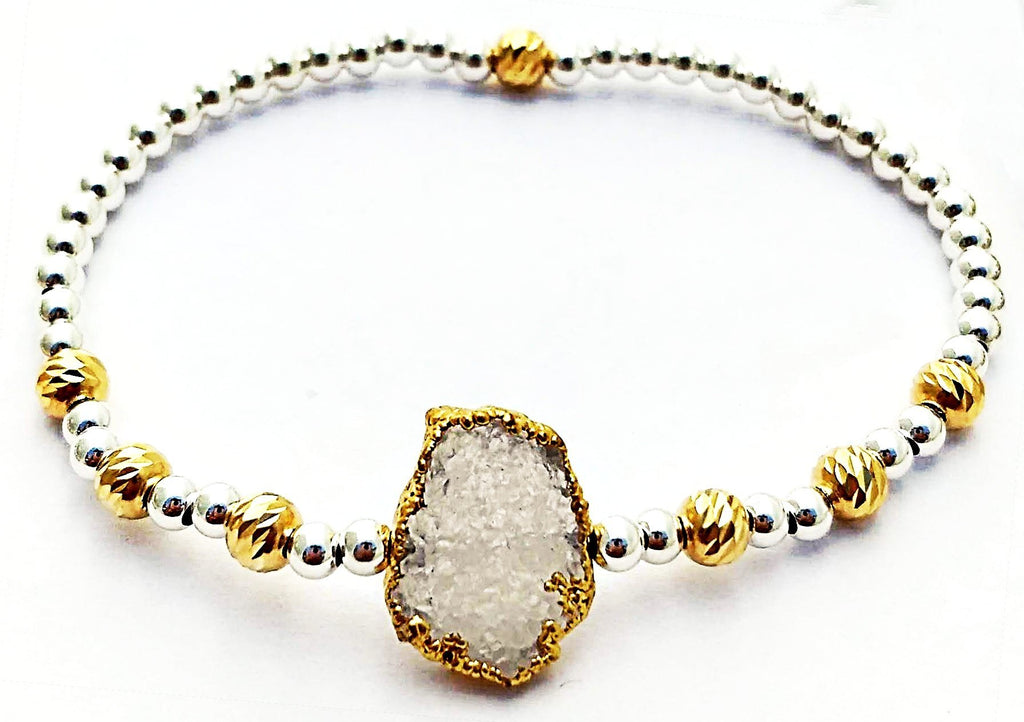 Metallic Glacé Collection- Abstract Gold Frame Druzy with Chiseled Gold and Silver Smooth Beads