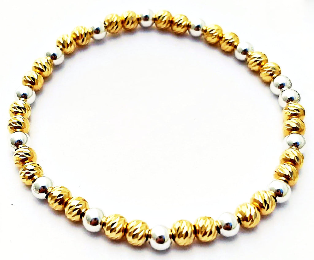 Metallic Glacé Collection- Chiseled Gold & Smooth Silver Beaded Bracelet