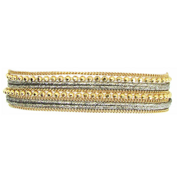 Metallic Ribbon with a Melange of Chain Bracelet with Clasp