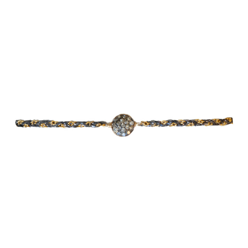 Oxidized Small Pave Circle Diamond Bracelet