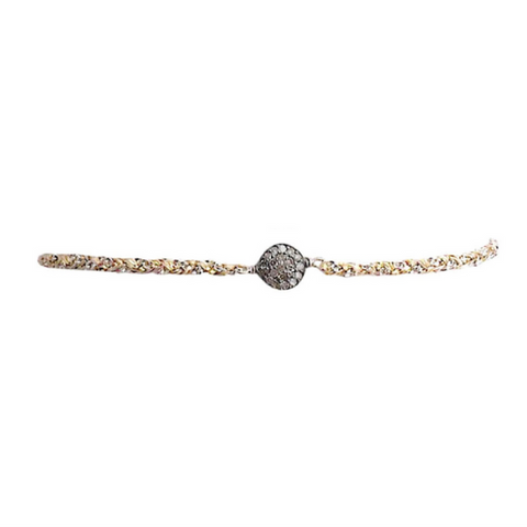 Metallic Ribbon Diamond Choker in Rose Plated Circle