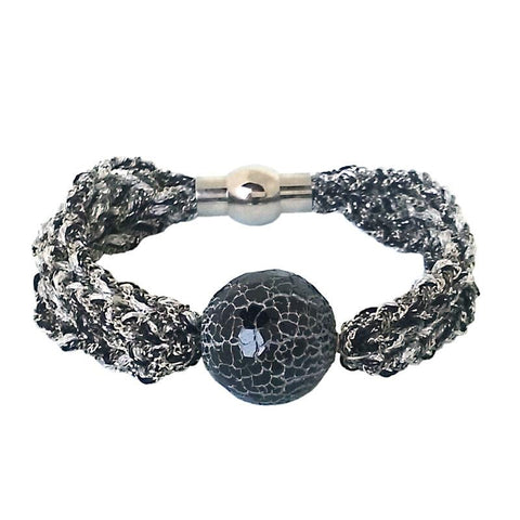 Black Onyx Glacé Collection- Semi Precious Black Onyx Bracelet with Vermeil Tube Center
