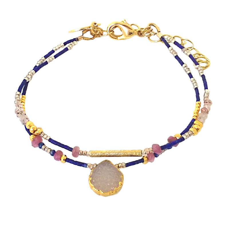 Druzy Stone Center  & Rocaille Beaded Bracelet