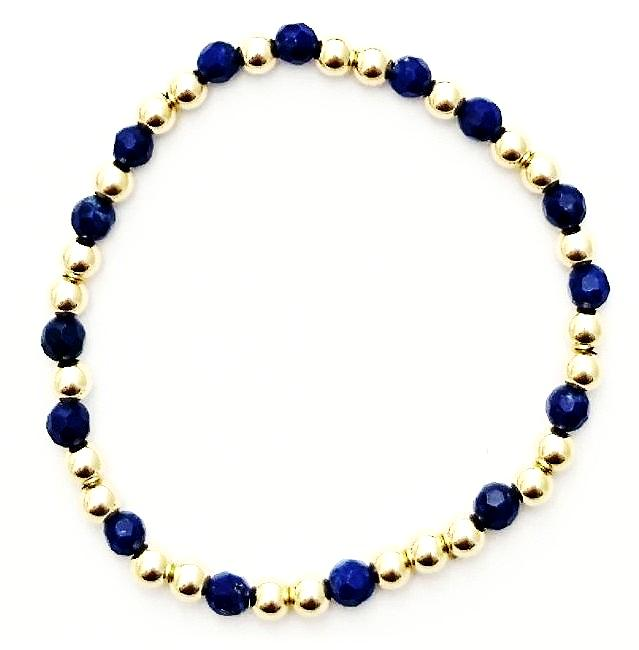 Lapis Glace Collection - Semi-Precious 4mm Lapis and 4mm Shiny Gold-Fill Beaded Bracelet