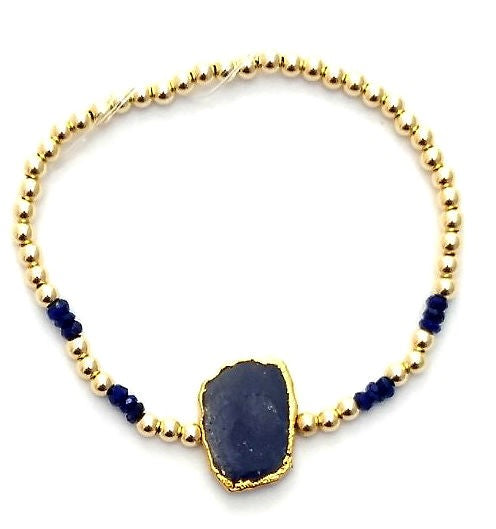 Lapis Glace - Abstract Lapis and 3mm Gold Fill Mixed Beads