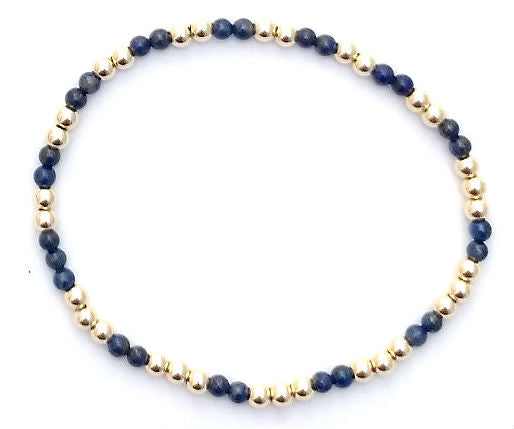 Lapis Glace Collection - Semi-Precious and 3mm Shiny Gold-fill Bead Bracelet