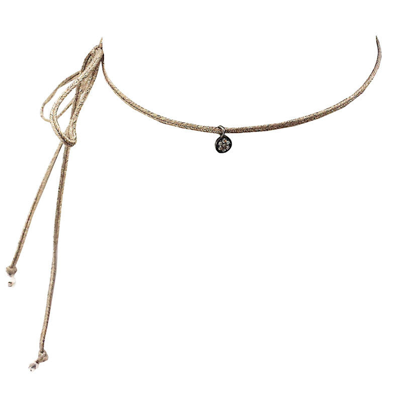 Metallic Ribbon Diamond Choker in Circle