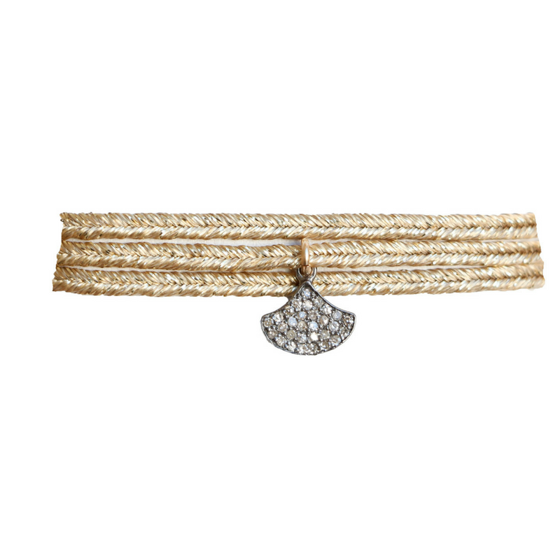 Metallic Ribbon Diamond Choker in Fan