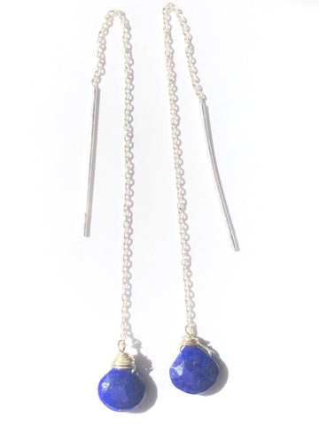 Thread Earring with Tear Shaped Blue CZ