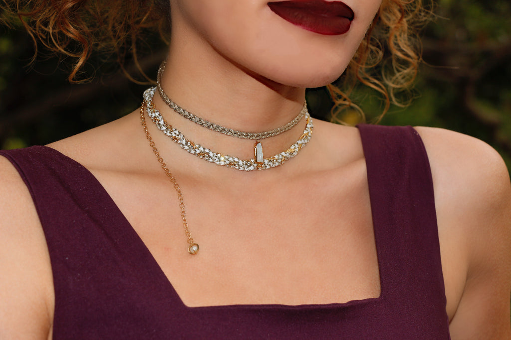 Antiqued Ribbon Braided Choker