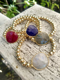 Large Semi-Precious Gemstone & Shiny Gold-Fill Beads
