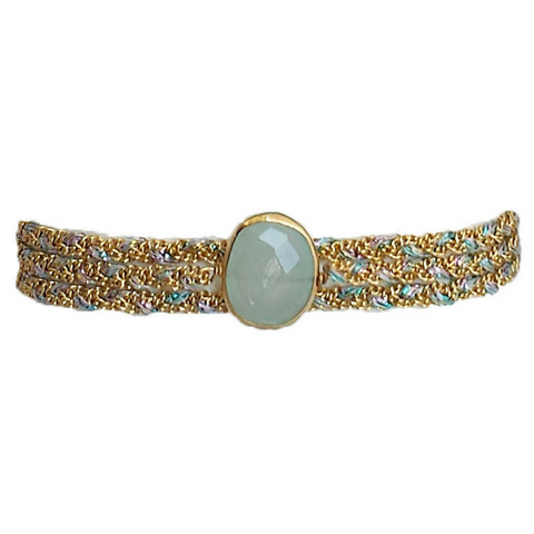 Metallic Ribbon Diamond Choker in Hollow Circle