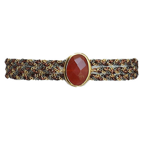 Ultra Suede Square Stone Wrap in Cognac Quartz