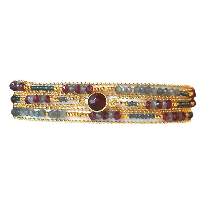 Beaded Stone Wrap with Clasp