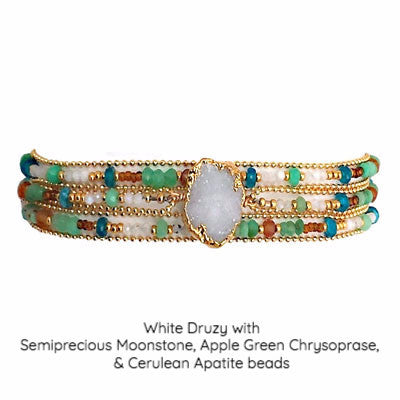 Gold Encased Stone & Semiprecious Beaded Bracelet Wrap