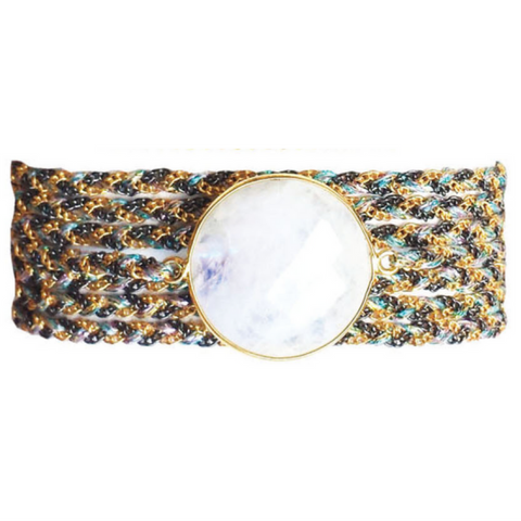 Solar Quartz Stone & Semiprecious Beaded Wrap Bracelet