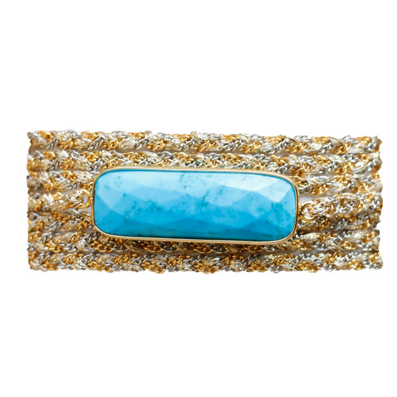 Rectangle Stone Wrap in Turquoise