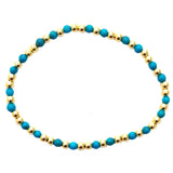 Turquoise Gacé Collection- Smooth Turquoise & Gold Beaded Bracelet