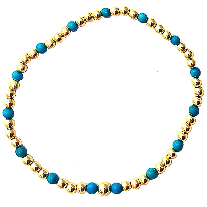 Turquoise Glacé Collection- Gold & Turquoise Beaded Bracelet