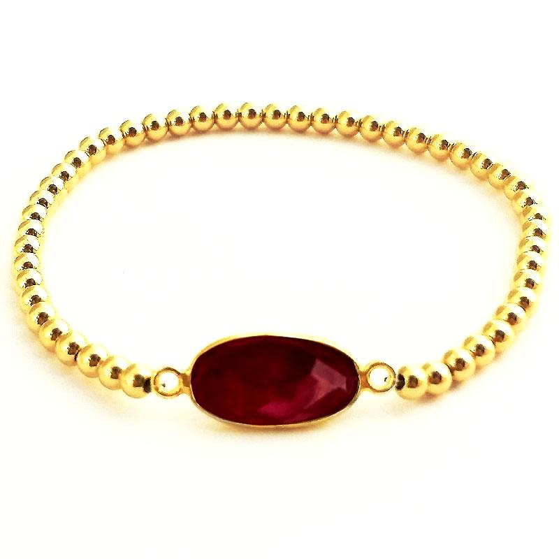 Ruby Glacé Collection- Oval Semi Precious Ruby & Shiny Gold-FIlled Beaded Bracelet