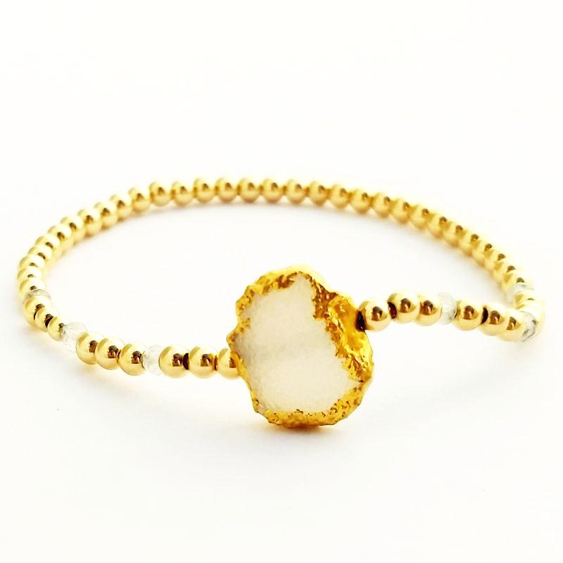 Moonstone Glacé Collection- White Druzy Abstract Stone & Shiny Gold-Filled Beaded Bracelet