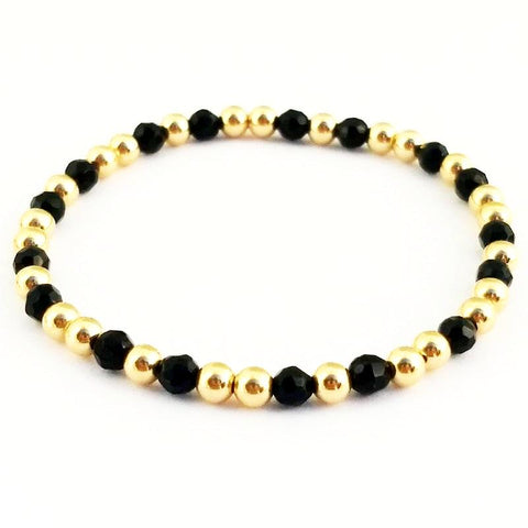 Black Onyx Glacé Collection- Square Semi Precious Gemstone & 4mm Shiny Beaded Bracelet