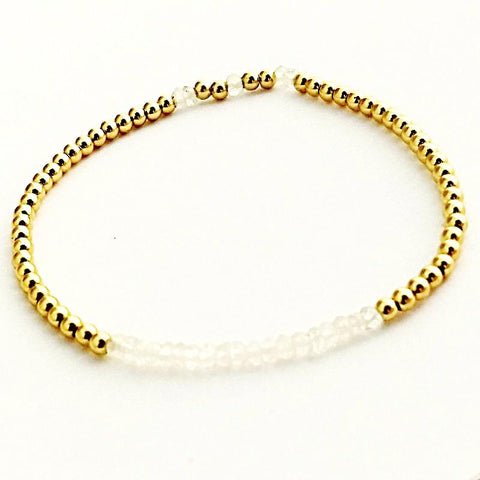 Moonstone Glacé Collection - Oval shaped Moonstone & Shiny Gold-Filled Beaded Bracelet