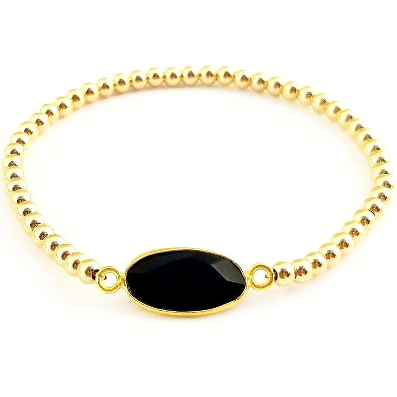 Black Onyx Glacé Collection- Oval Semi Precious Black Onyx & Shiny Gold-FIlled Beaded Bracelet