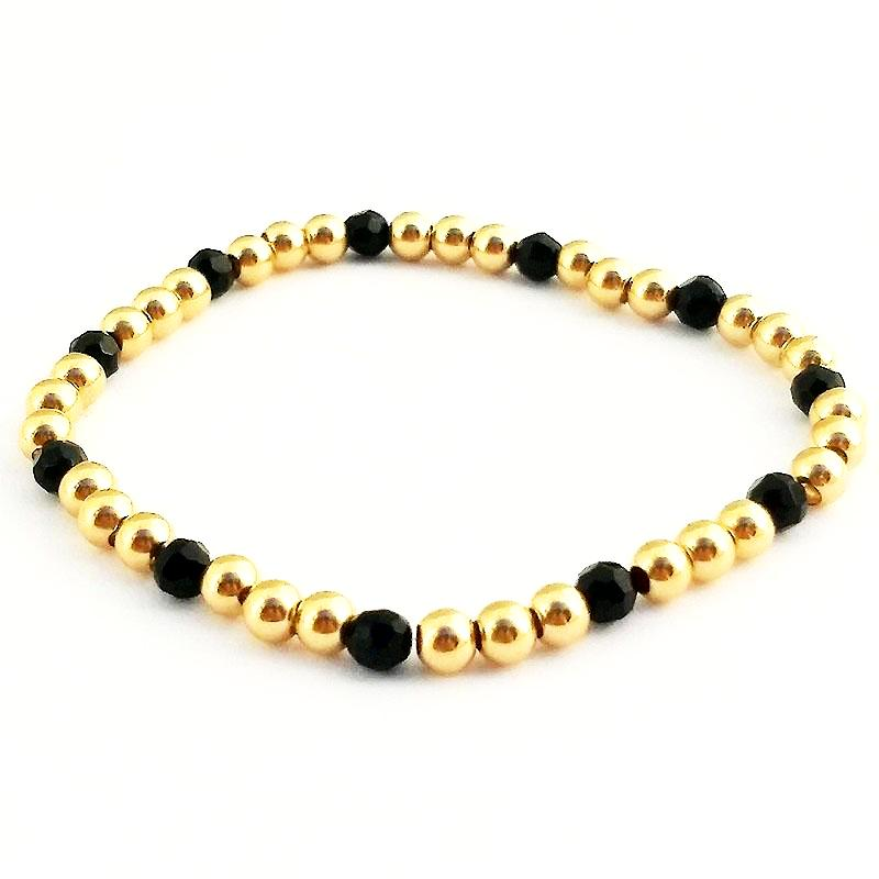 Black Onyx Glacé Collection- Semi Precious Black Onyx & 4mm Shiny Gold Filled Beaded Bracelet