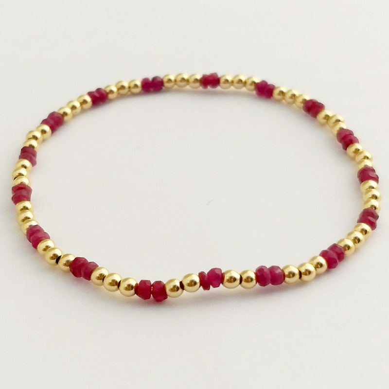 Semi Precious Gemstones & 3mm Shiny Beaded Bracelet (2/3 pattern)